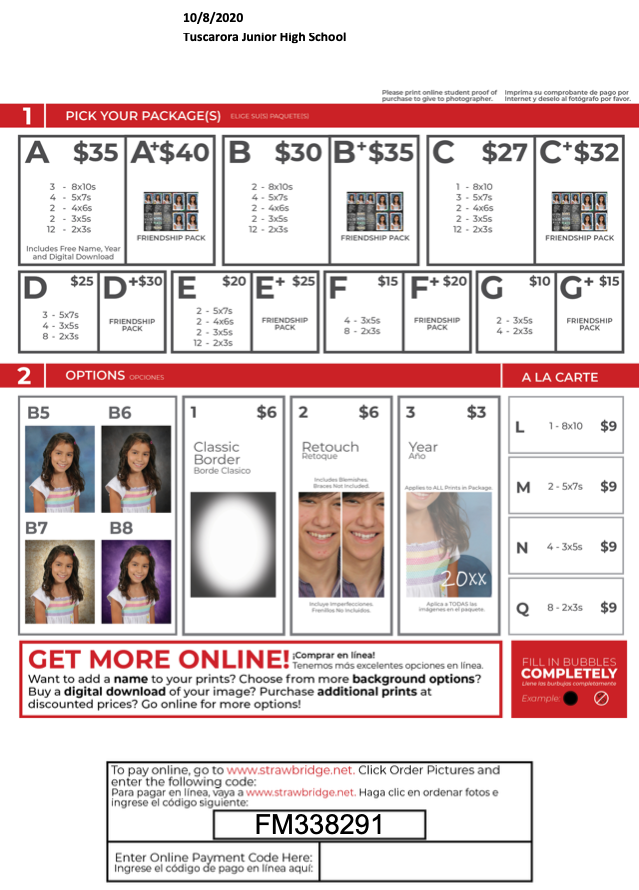 School Picture Price Information